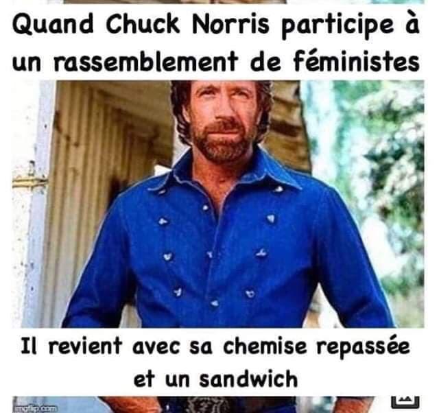 Quand Chuck Norris participe à un rassemblement de féministes… - Images Drôles